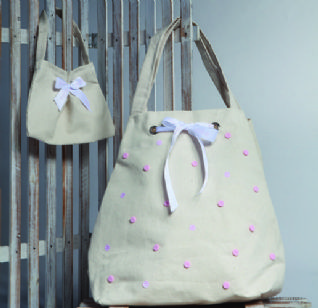 Christening cotton bag with light pink dots / Τσάντα βάπτισης βαμβακερή με πουά ροζ